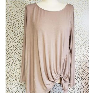 She + Sky Long Knit Side Tie Taupe Blouse